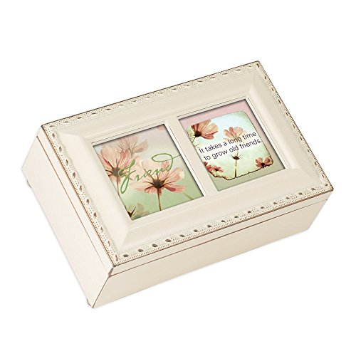 Cottage Garden Friend Takes a Long Time to Grow Matte Ivory Jewelry Music Box Plays What Friends are for