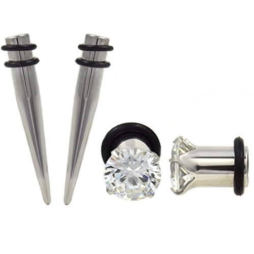 1 Gauge(1G-7mm) 4 Piece Ear Stretching Kit Steel Tapers and Clear CZ Gem Plugs