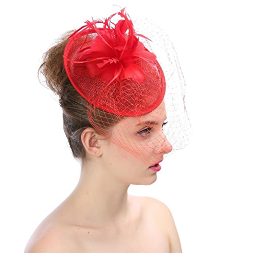 Wensltd Fascinators Hair Clip Headband Feathers Net Mesh Hat For Cocktail Party Headdress Wedding (Red) ()