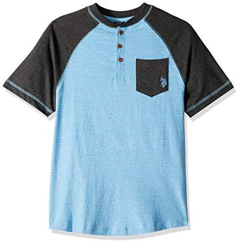 U.S. Polo Assn. Boys' Toddler Short Sleeve T, Mini Stripe Raglan Henley Shirt Coast Azure, - T-shirt Henley Mini