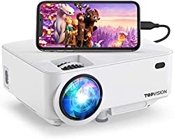 """Mini Projector ,TOPVISION Projector 5500 Lumens HD 1080P 180"""" Display Supported,60,000 hrs with Screen Mirroring Portable..."""