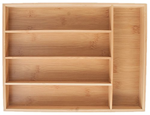 KD Organizers 5-Slot Bamboo Cutlery Drawer Organizer: Holds silverware, flatware, utensils, knives, makeup, jewelry, anything! Stylish tray for kitchen, bathroom, desk, vanity and junk drawers.