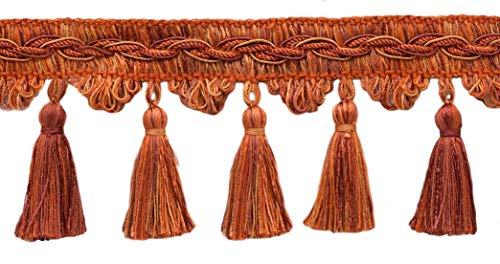 DÉCOPRO 5 Yard Value Pack of Veranda Collection 3.5 Inch Tassel Fringe Trim - Terra Cotta, Burnt Orange, Cinnamon, Style# VTF035, Color: Pumpkin Spice - VNT10 (4.5M / 15 Ft.)