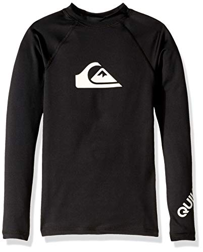 Quiksilver Little Boy's All Time Long Sleeve UPF 50 Rashguard, Black, L/14