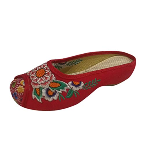 TIFENNY Women Vintage Cloth Shoes Sandals National Embroidered Tendon Soles Flowers Slippers Mary Jane Flats Single