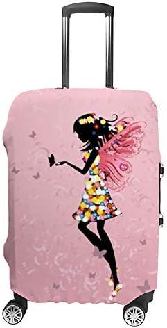 スーツケースカバー トラベルケース 荷物カバー 弾性素材 傷を防ぐ ほこりや汚れを防ぐ 個性 出張 男性と女性美しい花の妖精