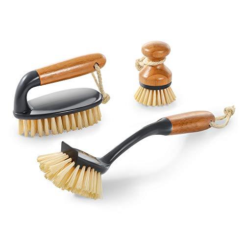 Mastertop 3PCS Durable Bamboo Brush Set with Dish Brush Pan Brush Floor Brush Used to Kitchen Washing Floor Brush Scrubber