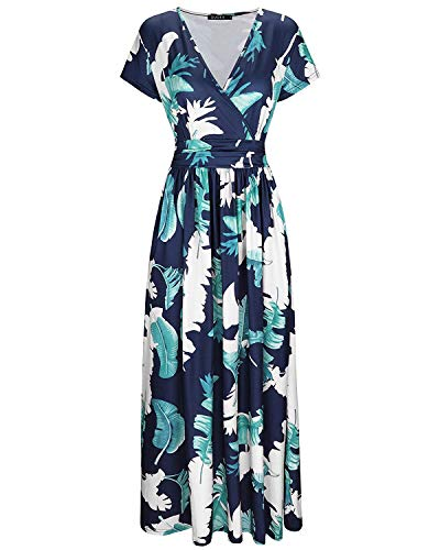 OUGES Women's V-Neck Pattern Pocket Maxi Long Dress(Floral-8,3XL)
