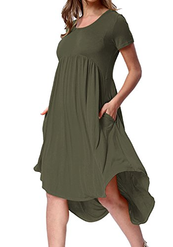 New Frocks (Yidarton Women's Summer Pleated Short Sleeve High Low Swing Loose Casual Dress (Green, Large))