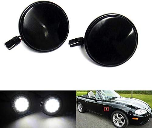 2x Noir Fum/é Lentille Lentille Lentille Lat/érale Blanc LED R/ép/éteur de Lumi/ère Pour 1990-2014 MX-5 MK I III Roadster NA NB NC