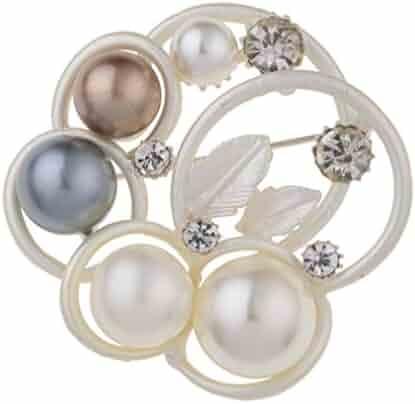fe44ea954 YAZILIND Classic Beads Flower Leaf Shape Brooch Alloy Pins Women Jewelry