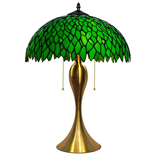 Holder Blade Wood Copper Antique - Nomi 19 Inch high Tiffany Style Handmade Glass Table Lamp Green Vine Antique Desk Bedside Lamps with Wrought Iron Base E27,110-240V