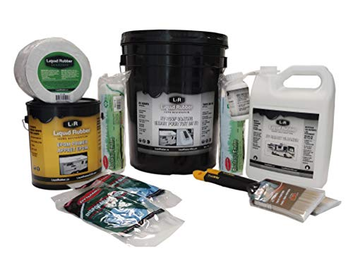 Liquid Rubber RV Roof Coating/Sealant 5 Gallon Kit - Includes RV Coating, 4