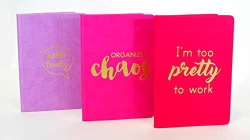 3 Pack Journal Set. PU Leather bound hardcover college ruled notebook. (Pink, Hot Pink) (Beach Rules Bookmark)
