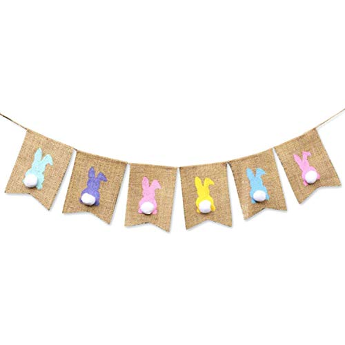 IDOXE Easter Burlap Banners Colorful Bunny Pattern Bunting Garland Easter Decorations Home Party Decor Favors (Bunny)]()