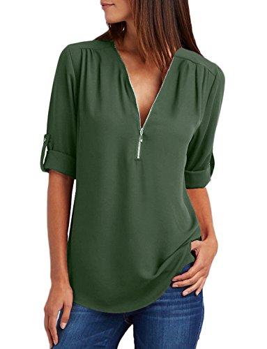 Camicie Tinta Unita Blusa Donna Taglie Manica Maglietta Lunga Profondit a Sciolto Sexy Chiffon Maglie Forti Fx4Cqw