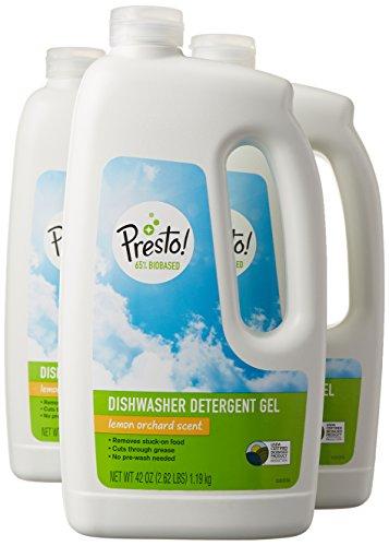 Presto! 65% Biobased Dishwasher Detergent Gel, Lemon Orchard Scent, 42-ounce bottles (pack of 3)