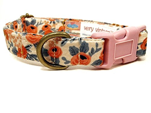 Very Vintage Designs Nottingham Dog Cat Collar Peach Coral Floral Collection Organic Cotton Personalized Pet Bandana