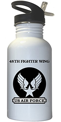 48th Fighter Wing - US Air Force White Stainless Steel Water Bottle Straw Top, (48th Fighter)