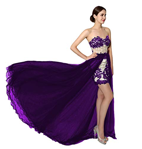 2127cbdf57 FTBY Evening Dresses Women Formal Hi Lo Prom Dress Long 2019 Strapless  Party Gown with Detachable Train Purple-20P
