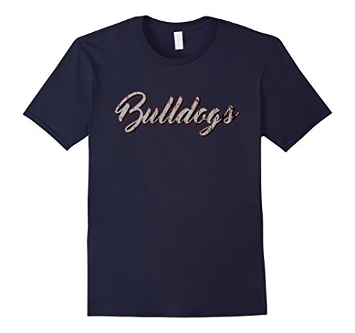 [Mens Bulldogs Mascot T Shirt Vintage Sports 3XL Navy] (Blue Bull Mascot Costume)