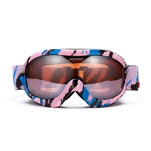 SE7VEN Lunettes De Neige Multicolore,Lentille Double Couche Anti-buée Escalade Masques Dames Plein Air De Ski-alpinisme D