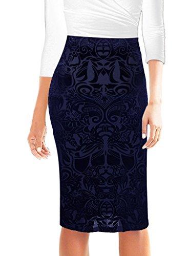 Pencil Waist Tab Skirt (Small-shop Womens Elegant Velvet High Waist Work Office Bodycon Pencil Skirt,16,Blue)