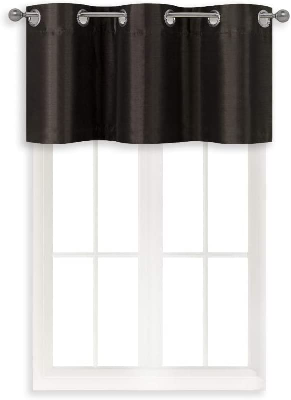 Home Queen Grommet Blackout Curtain Valance Window Treatment for Living Room, Short Straight Narrow Window Valance, Set of 1, 94 X 46cm (37 X 18 Inch), Brown