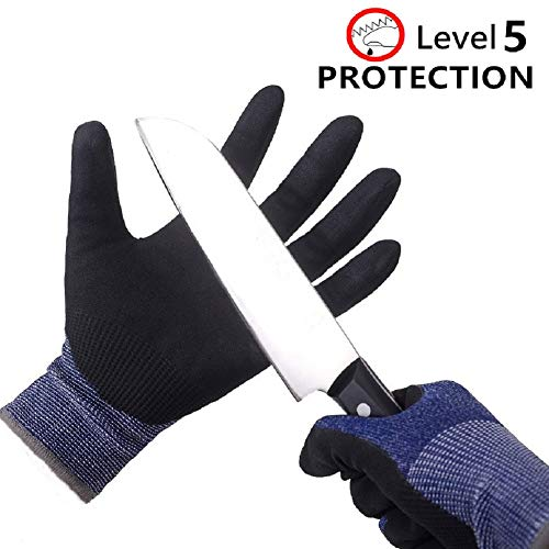 DEX SAFETY Cut Resistant Gloves Nitrile Coated Safety Cutting Gloves Level 5 Protection Food Grade for Work, Garden, Kitchen (Large,Blue)