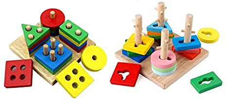 42fcb4c9e556 Amazon.com  Crafty Fox Montessori Toys Educational Geometric ...