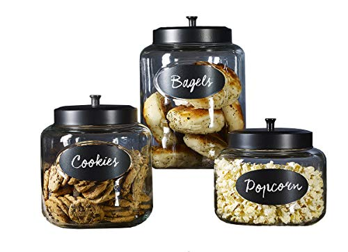 Mason Craft & More Airtight Kitchen Food Storage Clear Glass Pop Up Lid Canister, Set of 3 Black Top Pop Up Canister Set with Chalk (3.3L, 4.4L, and 5.9L)