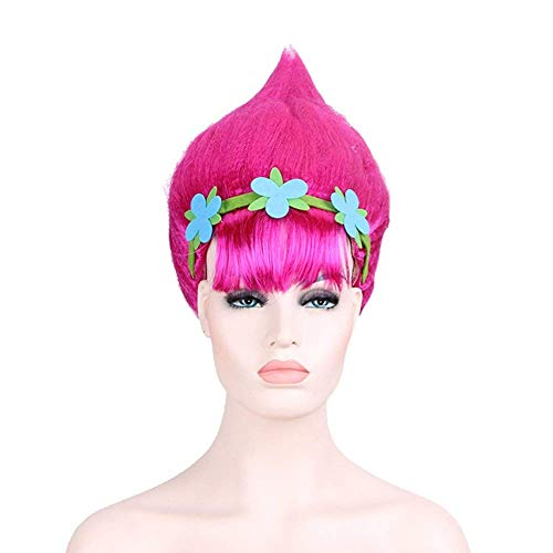 Pink Trolls Poppy Costume Wigs Cosplay Wig Halloween Party Head Accessories for Women and Girls -