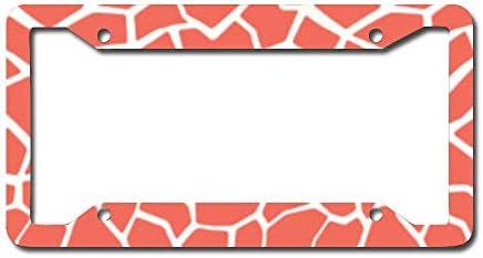 Leopard Print Auto Car License Plate Frame Tag Holder 4 Hole
