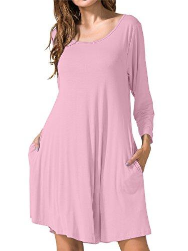 JollieLovin Women's Casual Swing 3/4 Sleeve Pockets T-Shirt Loose Dress (Pink, 1X)]()