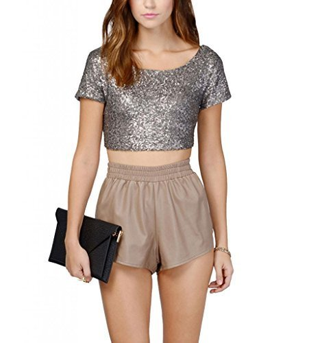 Women's Glitter Sequins Backless Crop Tops Candy colors Short Sleeve T-shirt X-Large Silver