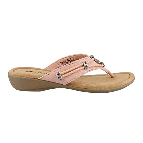 Minnetonka Womens Silverthorne Thong Sandal, Blush Pebbled PU, 9 B(M) US (Thong Women Pu Sandals)