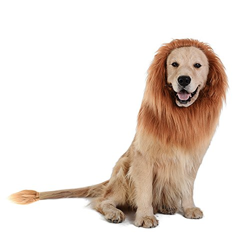 TOMSENN Dog Lion Mane - Realistic & Funny Lion Mane for Dogs - Complementary Lion Mane for Dog Costumes - Lion Wig for Medium to Large Sized Dogs Lion Mane Wig for (Frozen Sven Kids Reindeer Antlers)