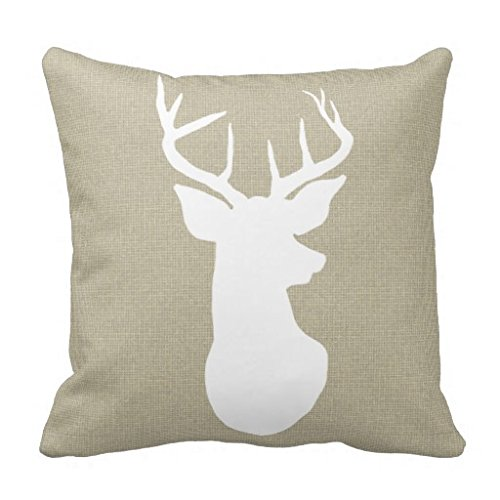 Chic Brown Burlap Rustic Antler Deer Country Throw Pillow Case Gonvada A square
