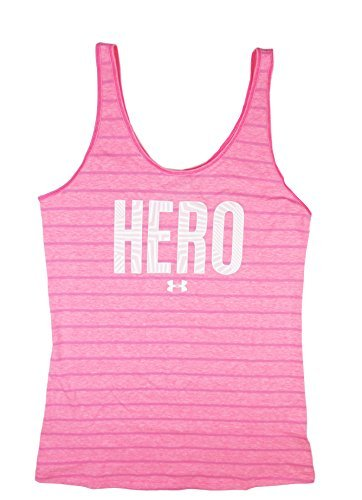 "Under Armour Women's UA Power In Pink ""Hero"" Striped Tank Top (Medium, Cerise (653))"