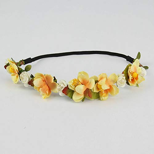 MOPOLIS Charming Women Floral Flower Rose Party Wedding Hair Wreaths Headband Hair Band | Color - Yellow #1