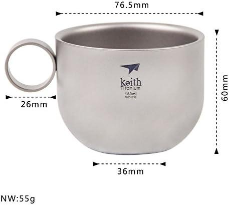 105 g Keith Ti3601 Juego de tazas de caf/é de titanio y titanio port/átil para exterior taza de caf/é con cuchara para macetas 150 ml