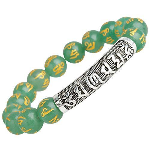 TUMBEELLUWA Beads Bracelets Semi Precious Stone Yoga Six Words Mantra Healing Crystals Chakra Bracelet Handmade Jewelry for Women,Green Aventurine