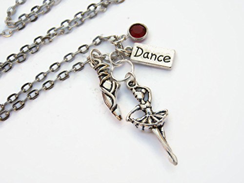 Personalized Ballet Necklace, Ballet Dancer Birthstone Jewelry, Sports Athletic Gift, Dance Necklace, Handmade in USA