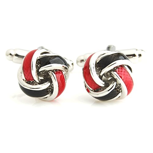 The Smart Man Men's Black and Red Enamel Knot Cufflinks
