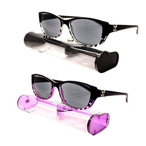 (#BRSR24 Blk&Prp) New Fashion Designer Women Sun Readers Sunglasses + Reading Glasses ALL-IN-ONE Free Carry Case (Strength: - Designer Discount Sunglasses
