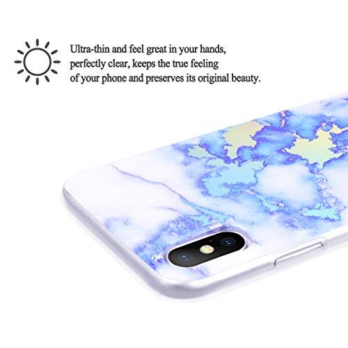 Funda iPhone X, WE LOVE CASE Ultra Fina Slim Suave Funda Mármol iPhone X Silicona Cubierta Clear Cover Original Flexible Gel Dibujos Anti Rasguños Choque con Diseño Protectora Resistente Funda Apple i Blue