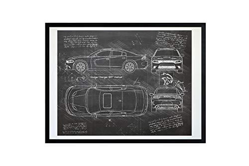 DolanPaperCo #215 Dodge Charger SRT Hellcat 2015 Art Print, da Vinci Sketch - Unframed - Multiple Size/Color Options (16x20, - Forms Dodge Charger