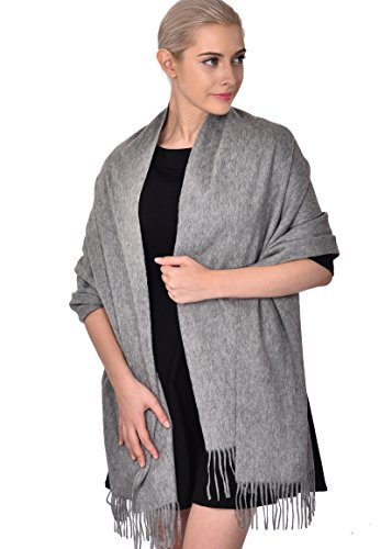 Christmas Gift for Women 100% Wool Pashmina Large Size Blanket Scarf Winter Evening Wrap Gray