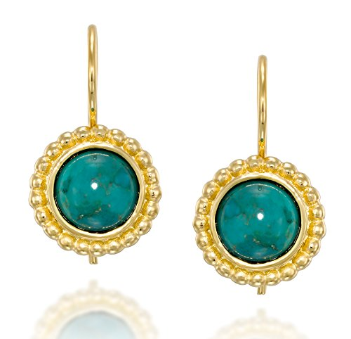 (Elegant 14k Gold Plated Silver Round Drop Earrings With 8 mm Reconstituted Turquoise and Secure Backs)