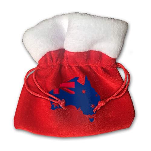 CYINO Personalized Santa Sack,Flag and Map of Australia Portable Christmas Drawstring Gift Bag (Red) -